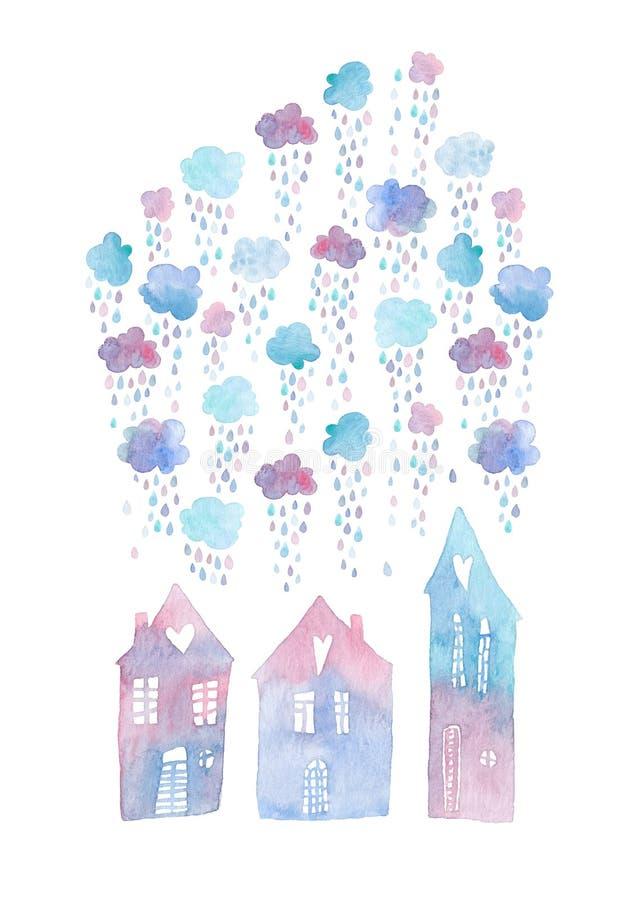 Cartão pintado à mão colorido com casas da aquarela e as nuvens chuvosas acima delas ilustração stock