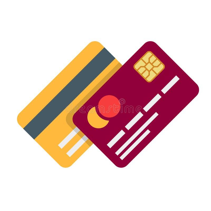 Cartão plástico da operação bancária ou do débito com a sombra isolada no fundo branco Ilustração do vetor em um estilo liso ilustração royalty free