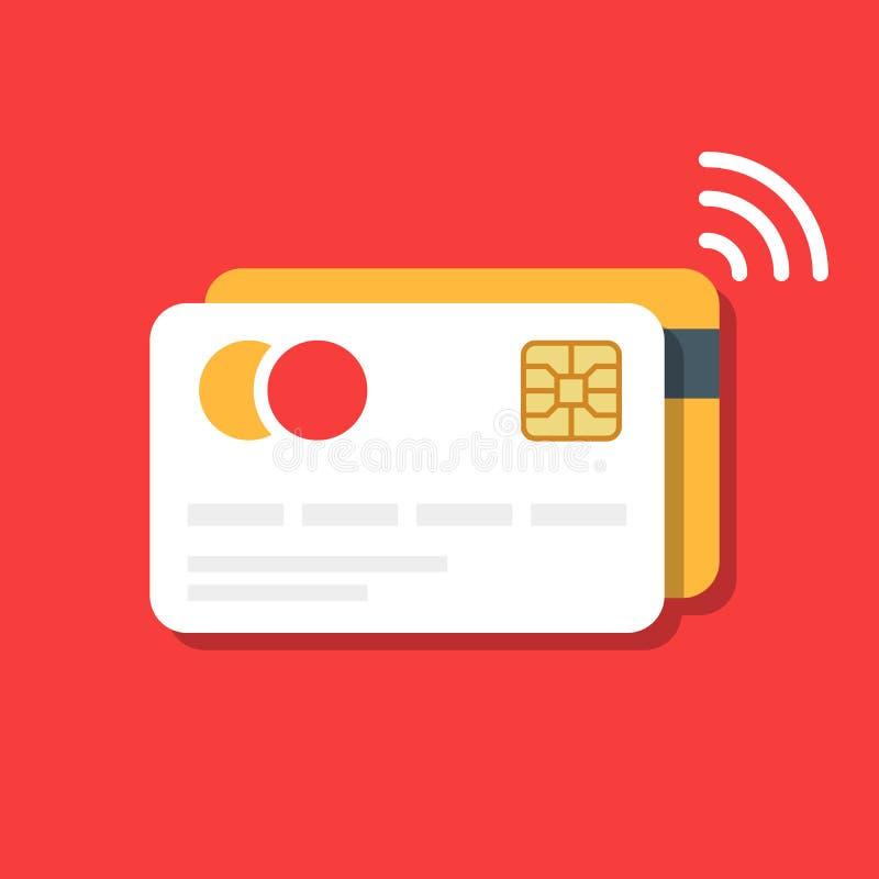 Cartão plástico do banco ou de crédito com um ícone sem fio do pagamento Comércio electrónico ilustração stock