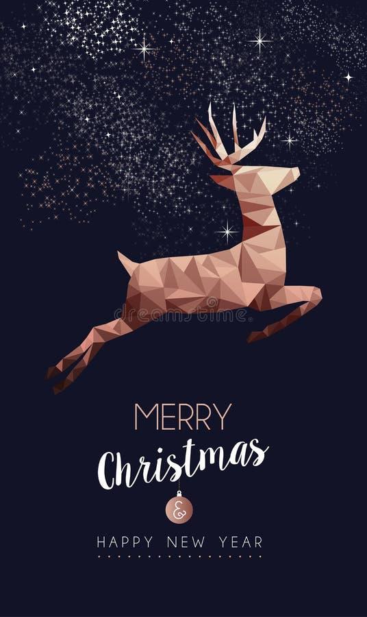 Cartão poli dos cervos do cobre do Natal e do ano novo baixo ilustração royalty free