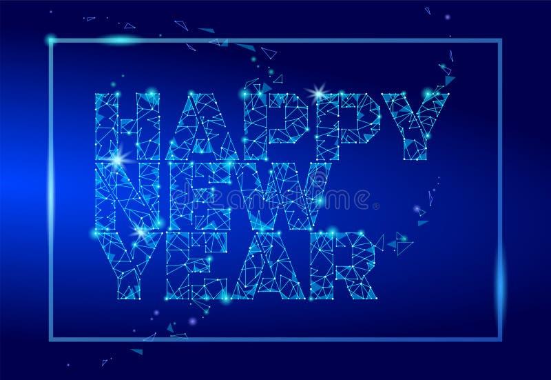 Cartão poligonal geométrico do ano 2018 novo Obscuridade futura da tecnologia do baixo triângulo poli - fundo azul Desi da empres ilustração stock