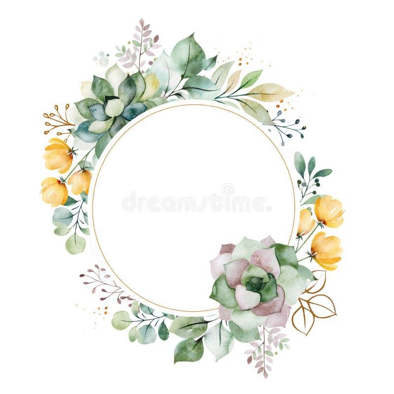 cart?o Pre-feito com folha, folhas de palmeira, ramos, flores, plantas carnudas ilustração royalty free