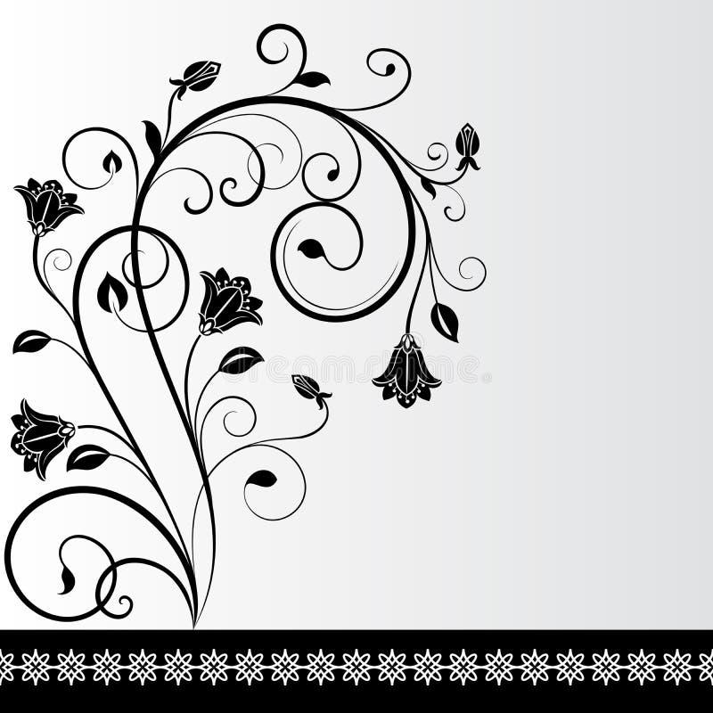 Cartão preto e branco da flor ilustração do vetor
