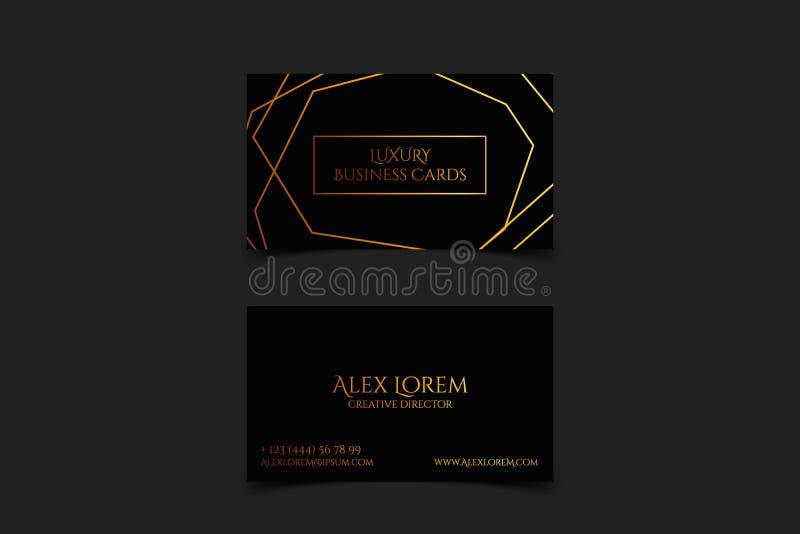 Cartão preto luxuoso com linhas geométricas textura e molde do vetor do detalhe do ouro, bandeira ou convite com ilustração do vetor