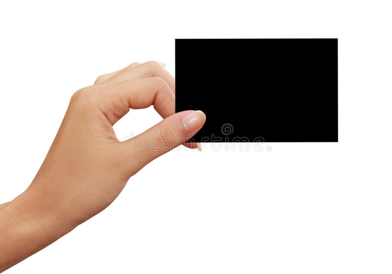 Cartão preto na mão da mulher imagem de stock royalty free