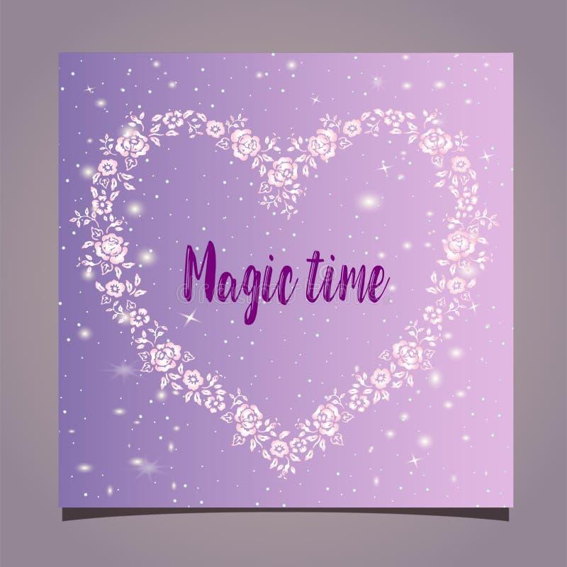 Cartão - quadro floral na forma de um coração em um fundo cor-de-rosa Tempo mágico ilustração royalty free