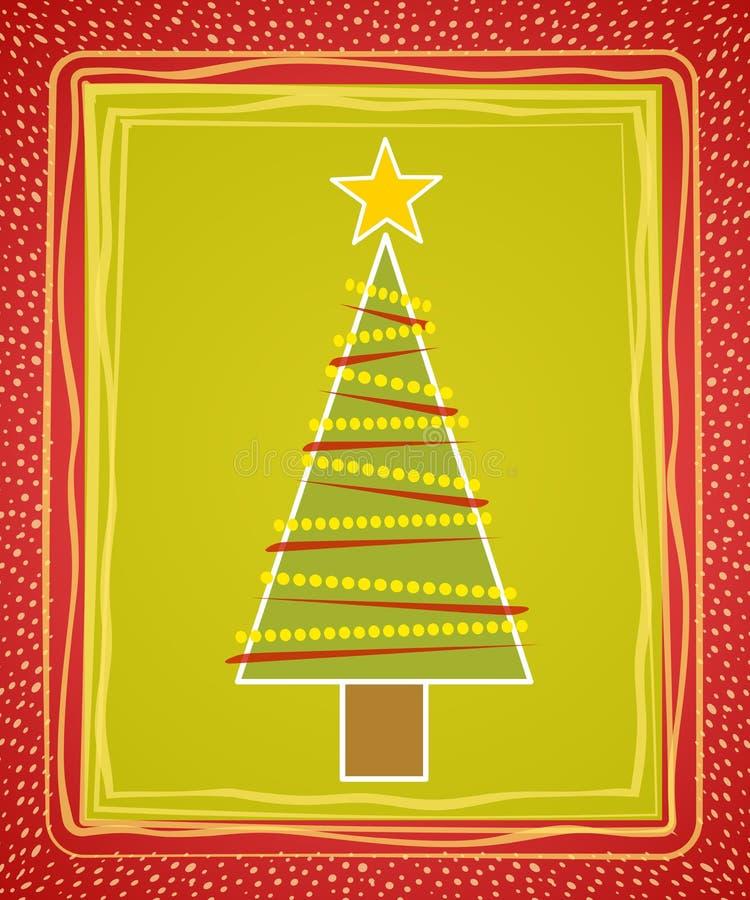 Cartão rústico da árvore de Natal ilustração do vetor