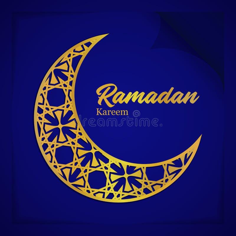Cartão Ramadan Kareem With Crescent Ornament Islamic da ilustração do vetor e estilo de papel da dobra imagem de stock royalty free