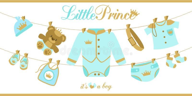 Cartão real do chuveiro do bebê Roupa do bebê que pendura em uma corda ilustração do vetor