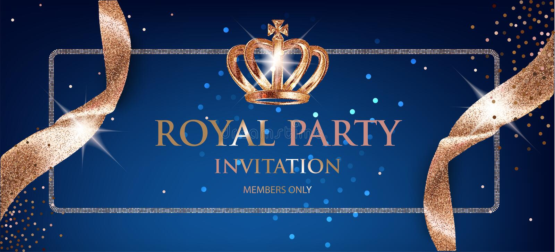 Cartão real elegante do convite do partido com as fitas e a coroa efervescentes bege ilustração do vetor