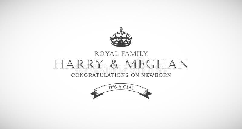 Cartão recém-nascido da ilustração do vetor do bebê da família real de Harry e de Meghan ilustração royalty free
