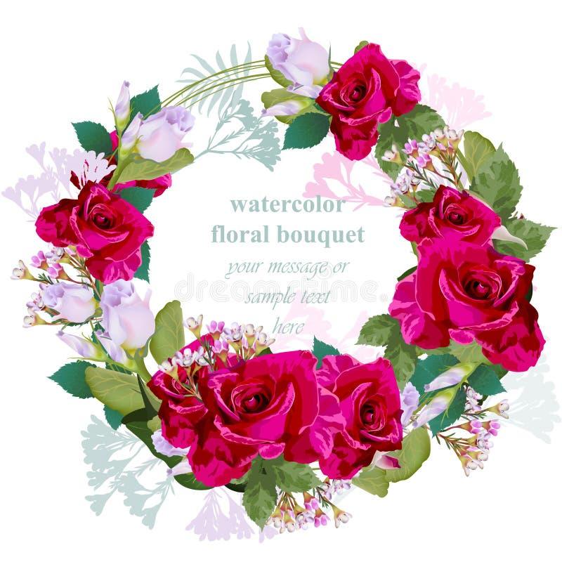 Cartão redondo floral do quadro da grinalda das rosas vermelhas Ilustração delicada do vetor da beleza do ramalhete do vintage ilustração do vetor