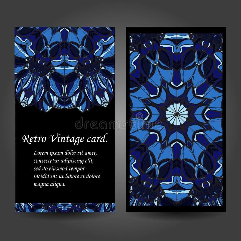 Cartão retro ajustado Fundo do vetor Cartão ou convite Elementos decorativos do vintage Mão desenhada Islã, árabe ilustração royalty free
