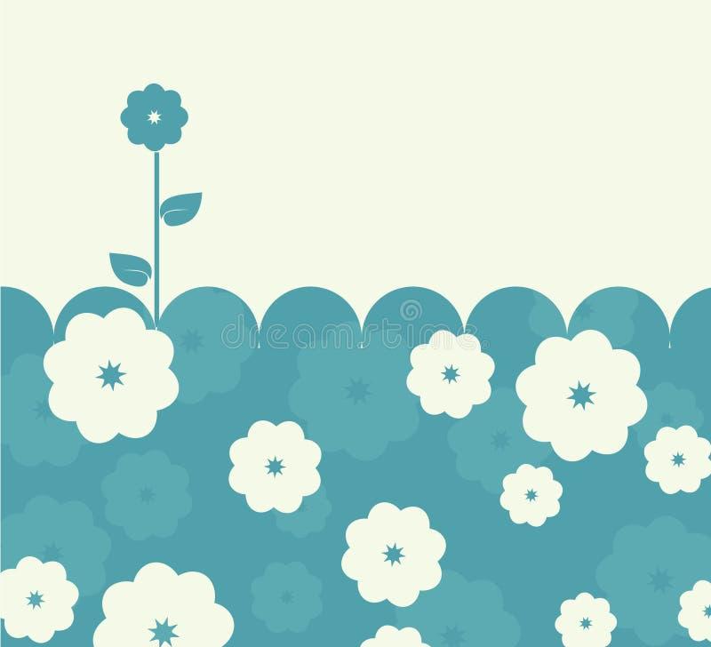 Cartão retro azul calmo com flores ilustração do vetor