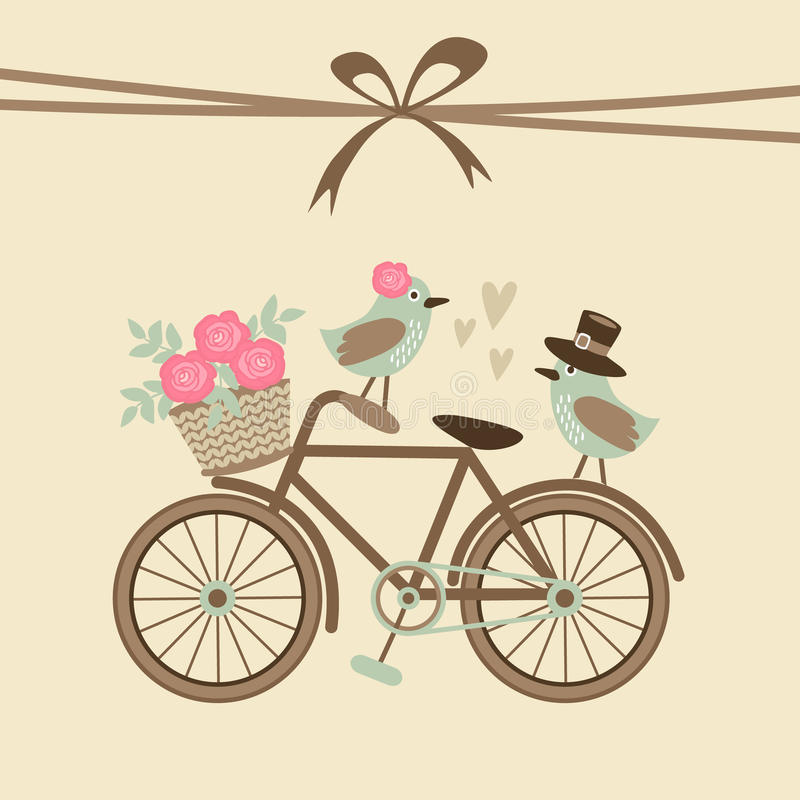 Cartão retro bonito do casamento ou de aniversário, convite com bicicleta, pássaros
