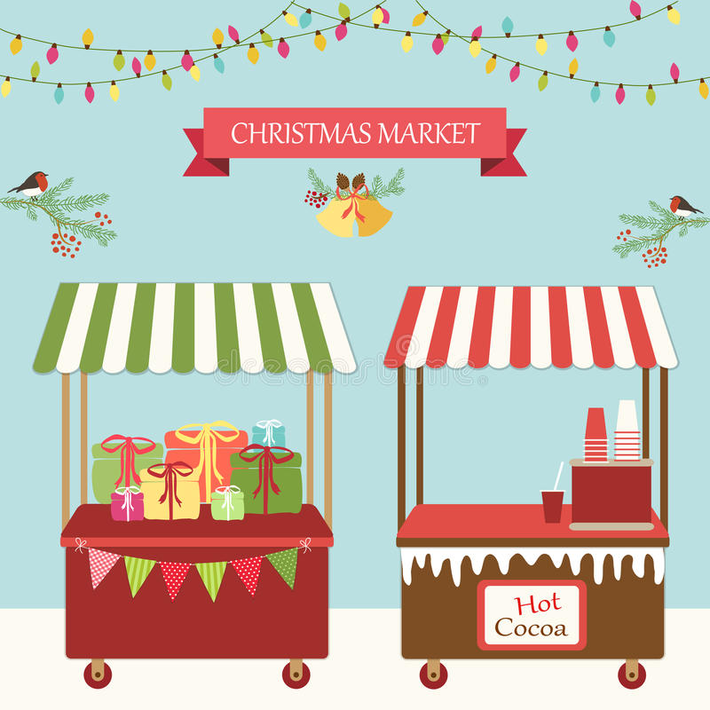Cartão retro bonito do mercado do Natal ilustração stock