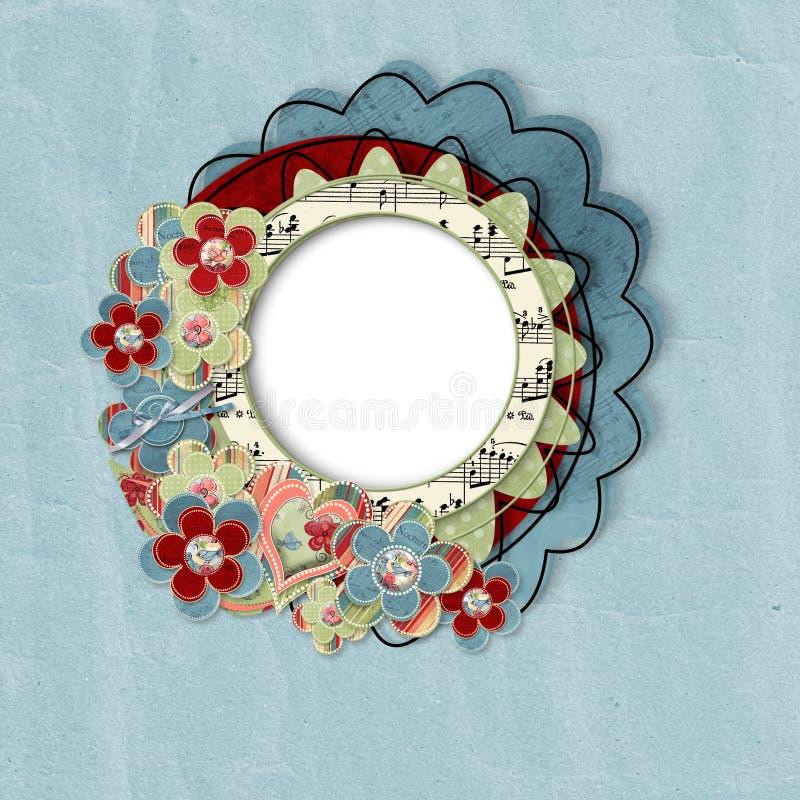 Cartão retro com flores ilustração stock