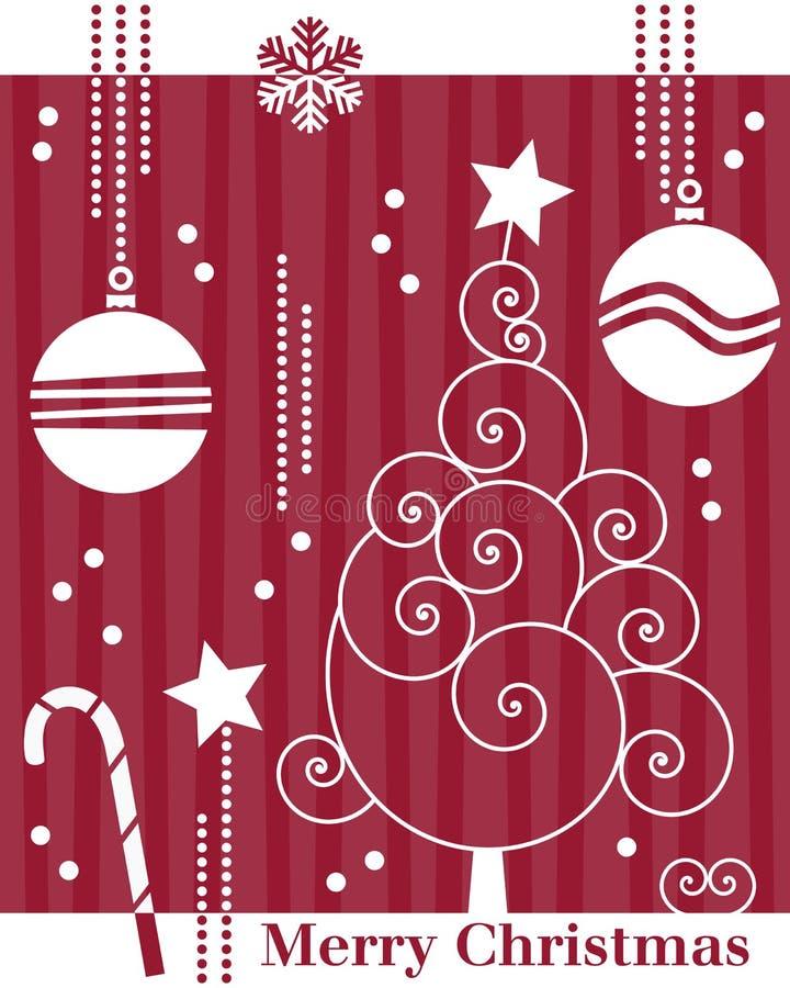 Cartão retro da árvore de Natal [1] ilustração stock