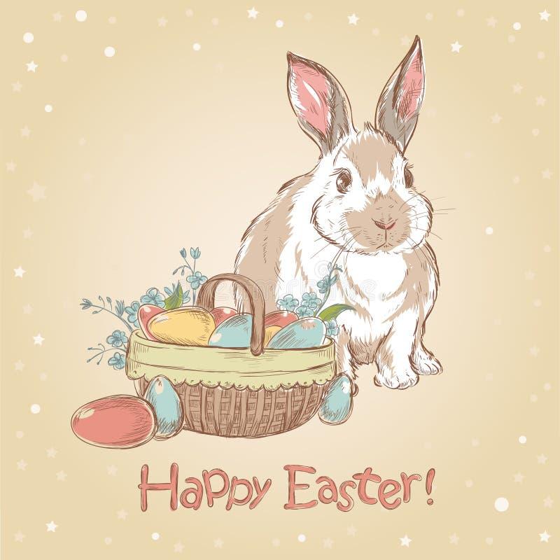 Cartão retro de Easter com mão bonito o coelho desenhado ilustração do vetor