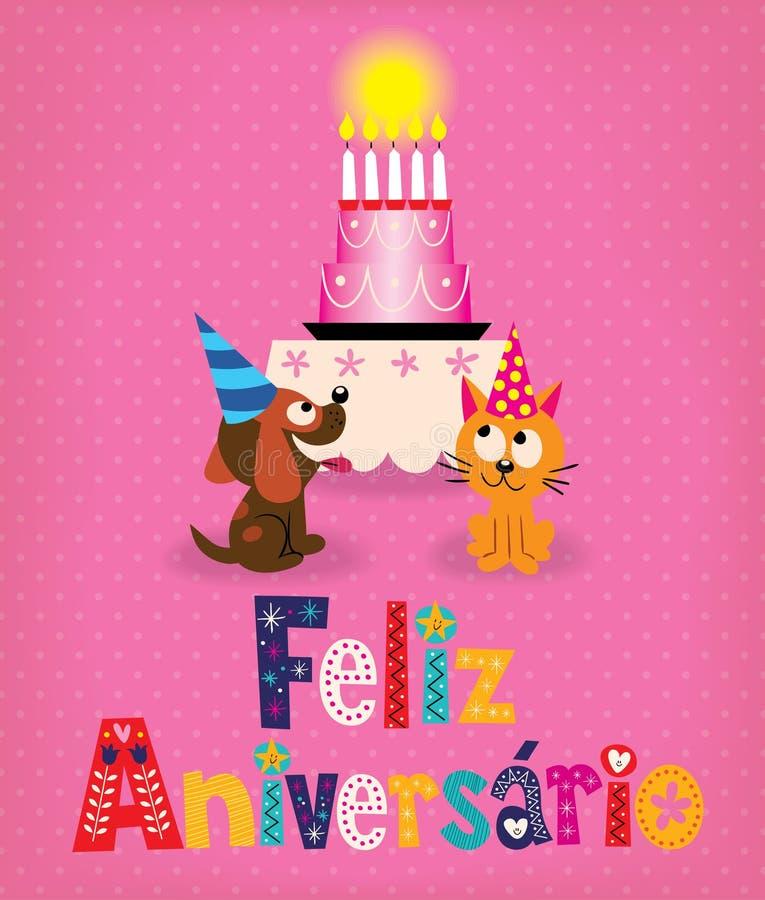 Cartão retro do aniversário de Feliz Aniversario Brazilian Portuguese Happy ilustração royalty free