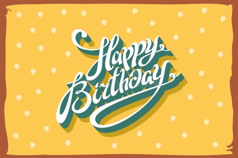 Cartão retro do feliz aniversario do vintage, com fontes, quadro do grunge e fundo sem emenda das vigas Vetor ilustração stock