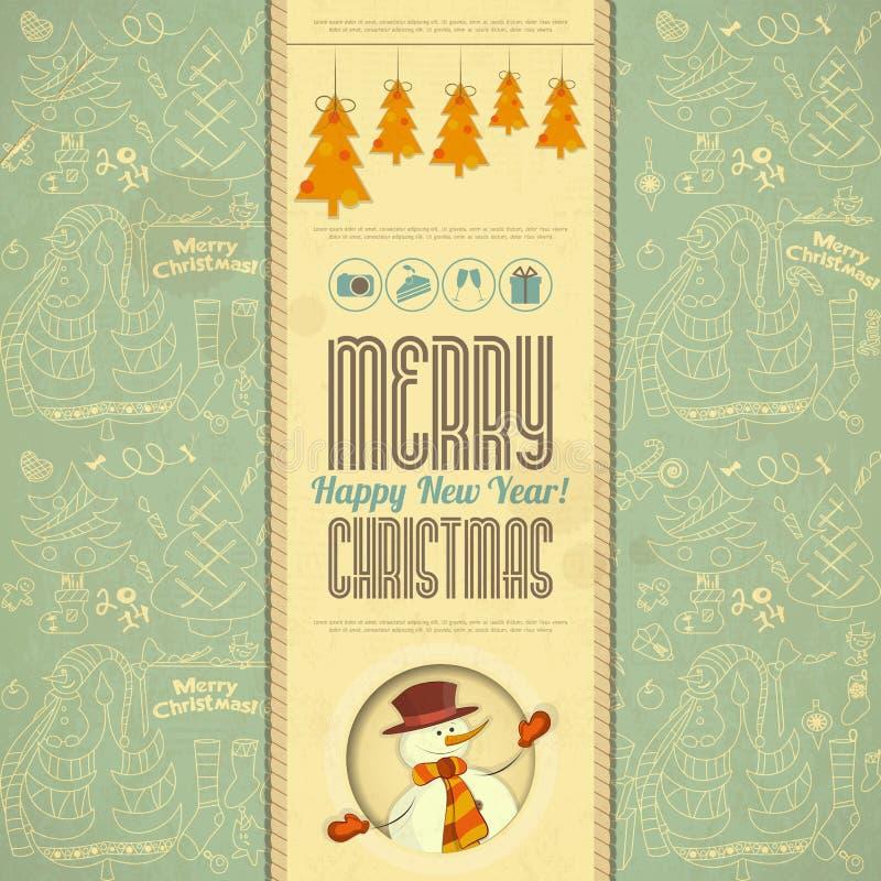 Cartão retro do Feliz Natal com boneco de neve ilustração stock