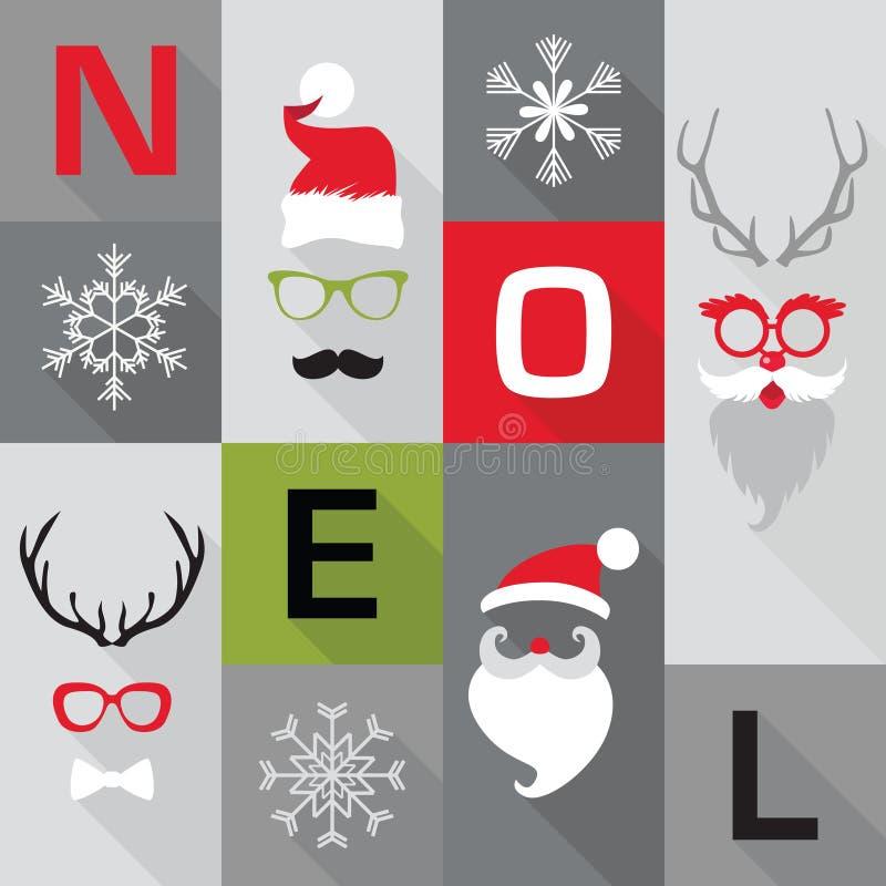 Cartão retro do Natal ilustração stock