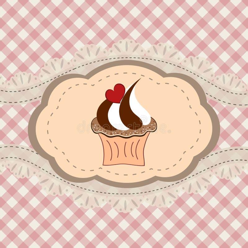 Cartão retro do queque ilustração stock