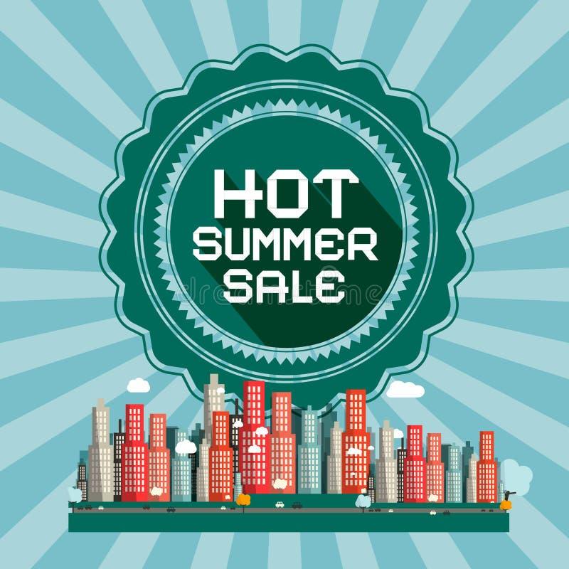 Cartão retro do vetor da venda quente do verão ilustração do vetor
