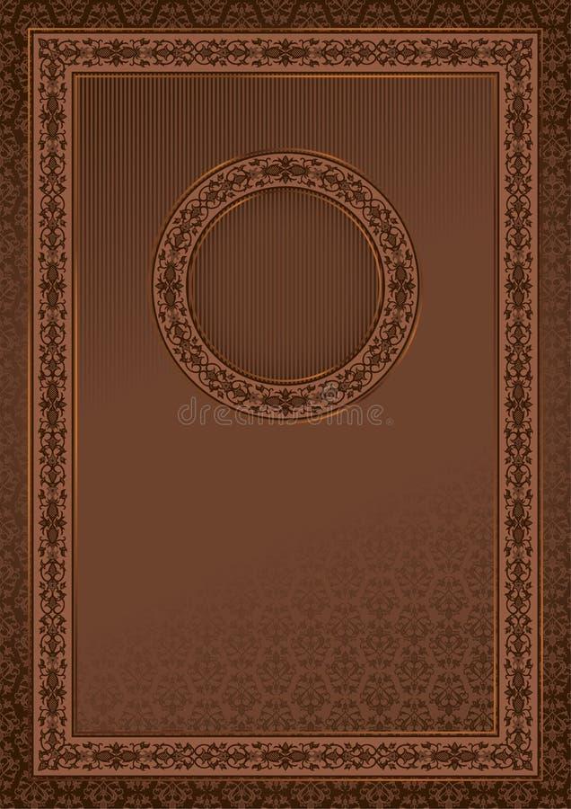 Cartão retro do vintage no fundo sem emenda do damasco ilustração do vetor