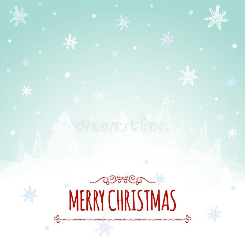 Cartão retro e fundo do Natal com a árvore e as felicitações de Natal desenhado à mão ilustração stock