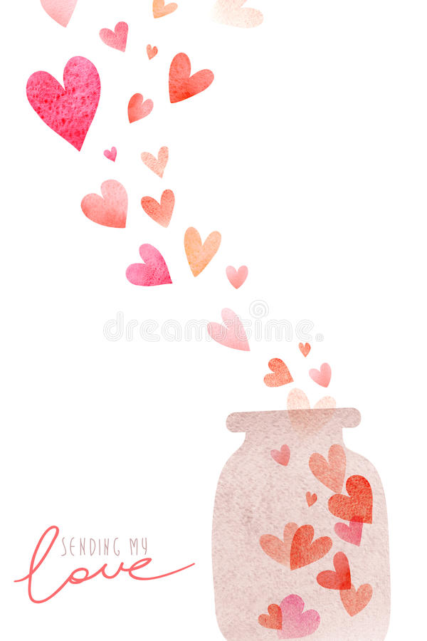 Cartão romântico bonito da aquarela com coração ilustração do vetor