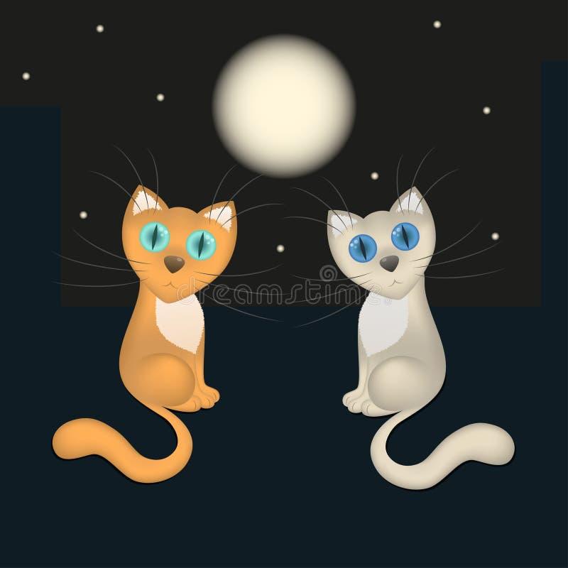 Cartão romântico, caindo em gatos dos desenhos animados do amor, telhado da casa, noite, lua, estrelas, vetor ilustração stock