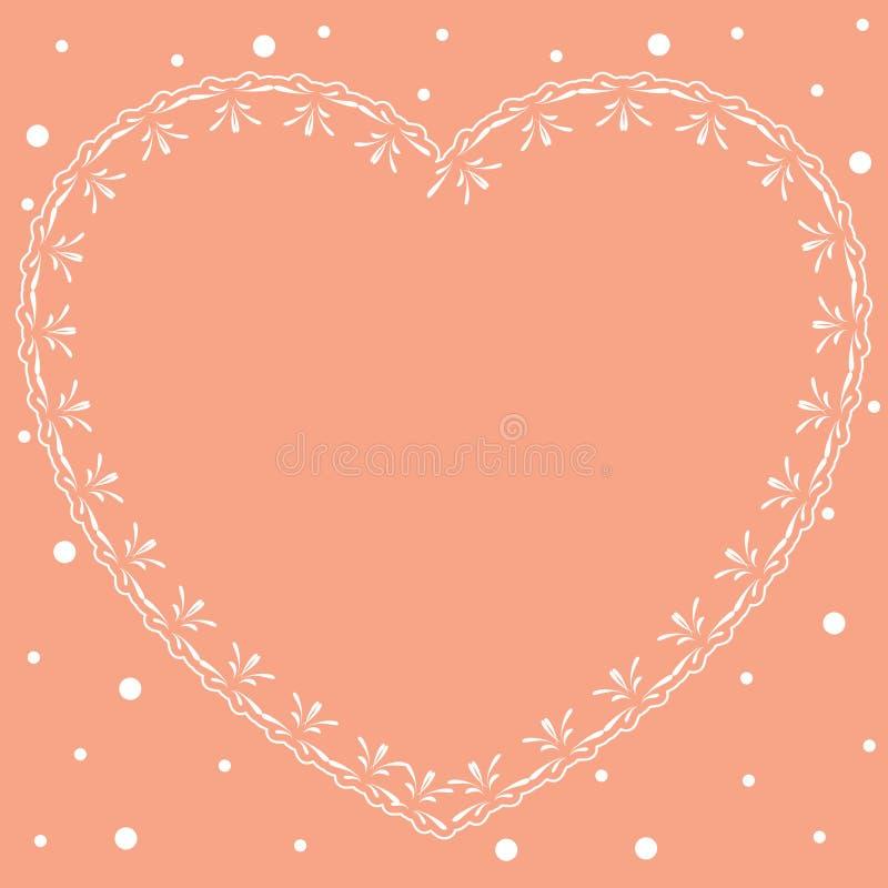 Cartão romântico cor-de-rosa com coração decorativo ilustração royalty free