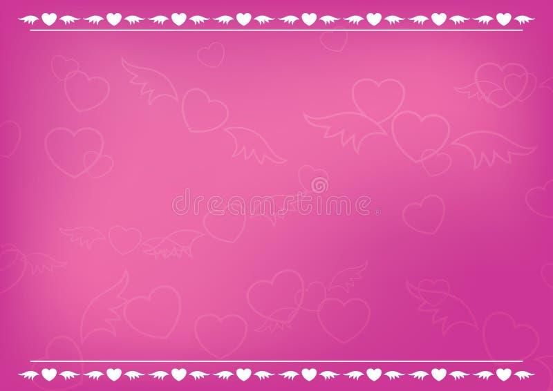 Cartão romântico cor-de-rosa com corações ilustração stock