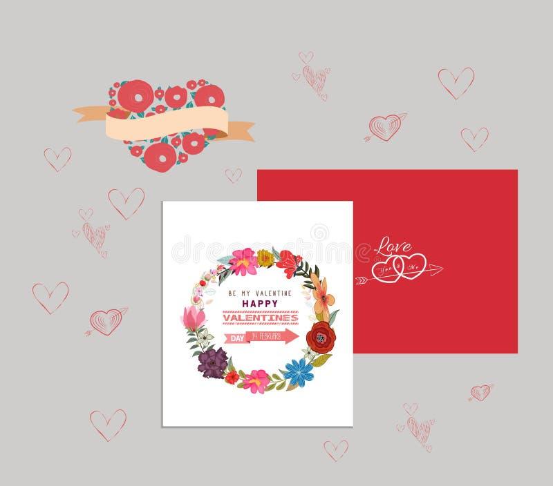 Cartão romântico do dia dos Valentim ilustração stock