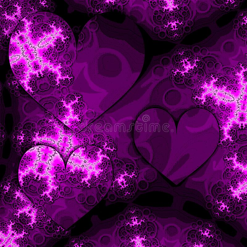 Cartão romântico dos Valentim em cores roxas e violetas com corações e fractals ilustração stock