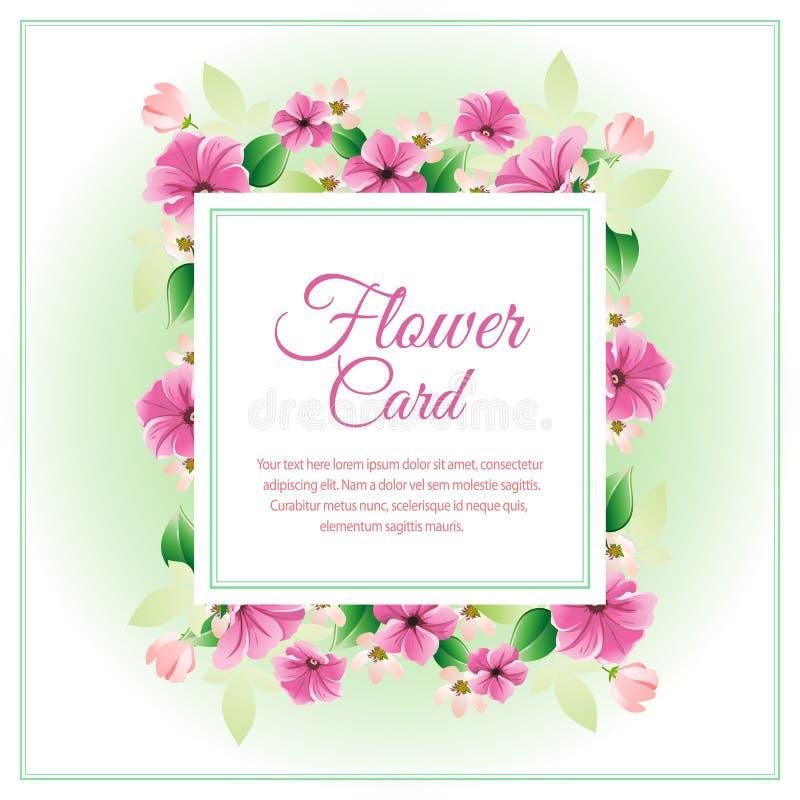 Cartão roxo da flor ilustração stock