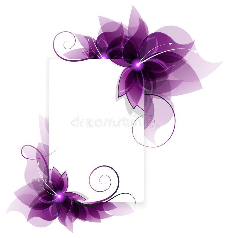 Cartão roxo das flores ilustração stock