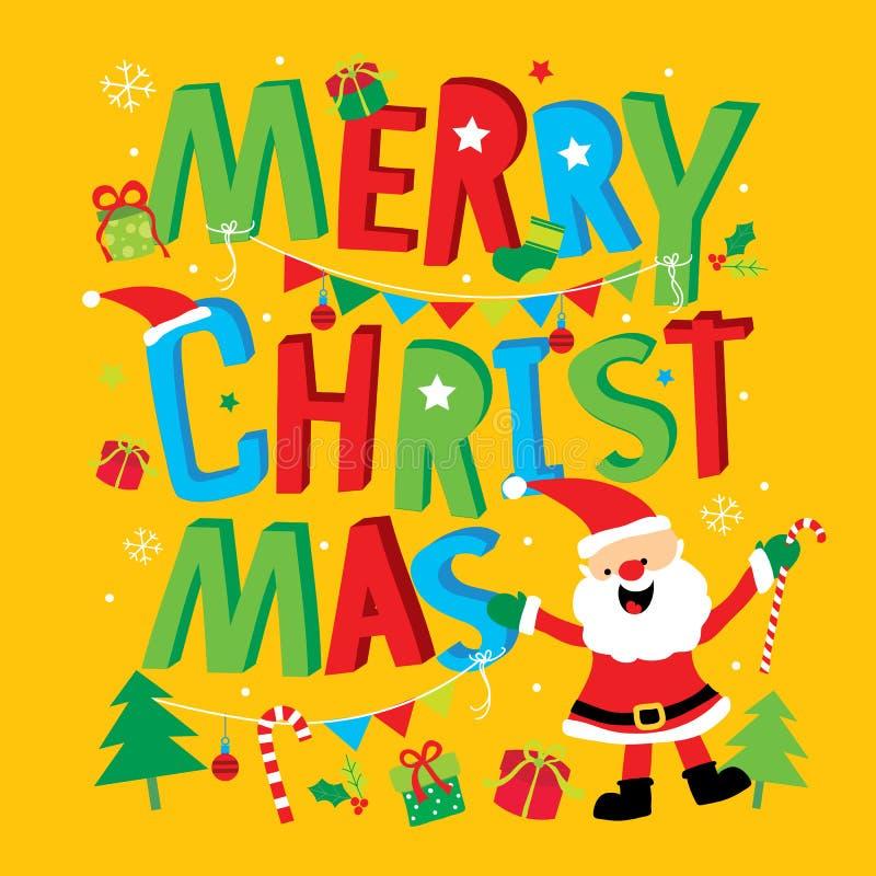 Cartão Santa Claus Cartoon Vetora do ano novo feliz do Feliz Natal ilustração stock