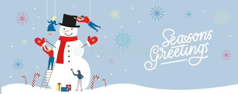 Cartão sazonal com os povos que constroem um boneco de neve grande e que rotulam a inscrição 'os cumprimentos da estação ' ilustração stock
