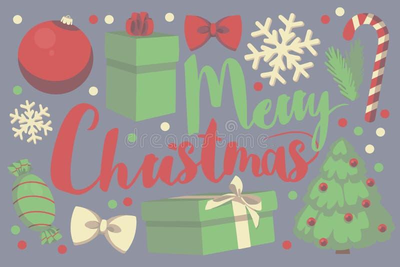 Cartão sazonal do Feliz Natal vermelho e verde da tipografia do vetor com caixa de presente, quinquilharia do Natal, floco da nev ilustração royalty free