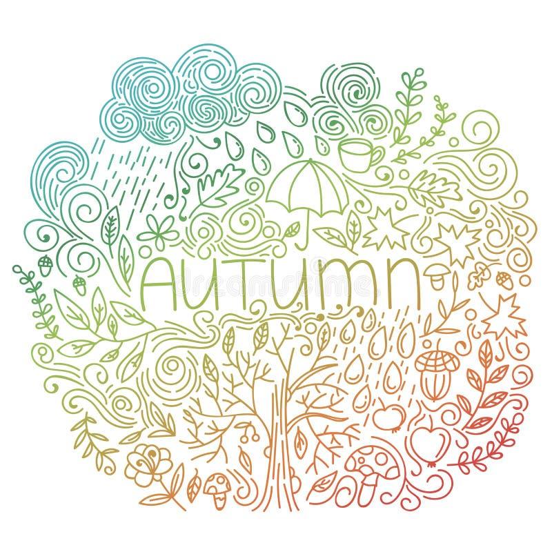 Cartão sazonal do outono Rabiscar o cartão da queda com outono da palavra, elementos florais, nuvem e gotas de chuva, queda da ár ilustração stock