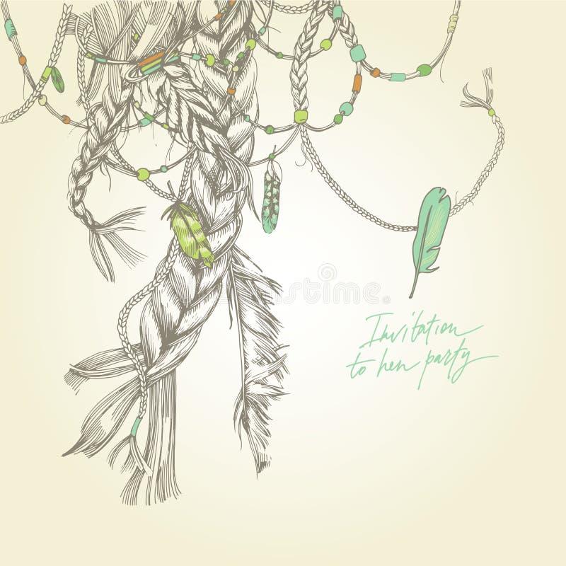 Cartão sem emenda com tranças de menina, cabelo, vento e penas ilustração royalty free