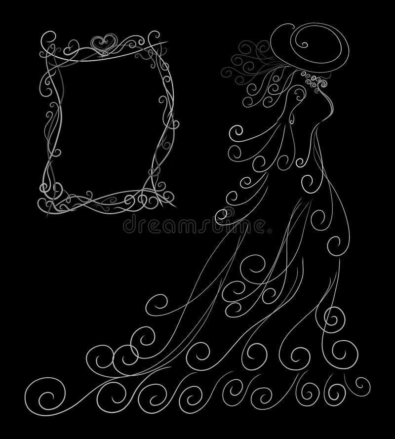Cartão, silhueta branca elegante de uma senhora em um vestido magnífico ilustração royalty free