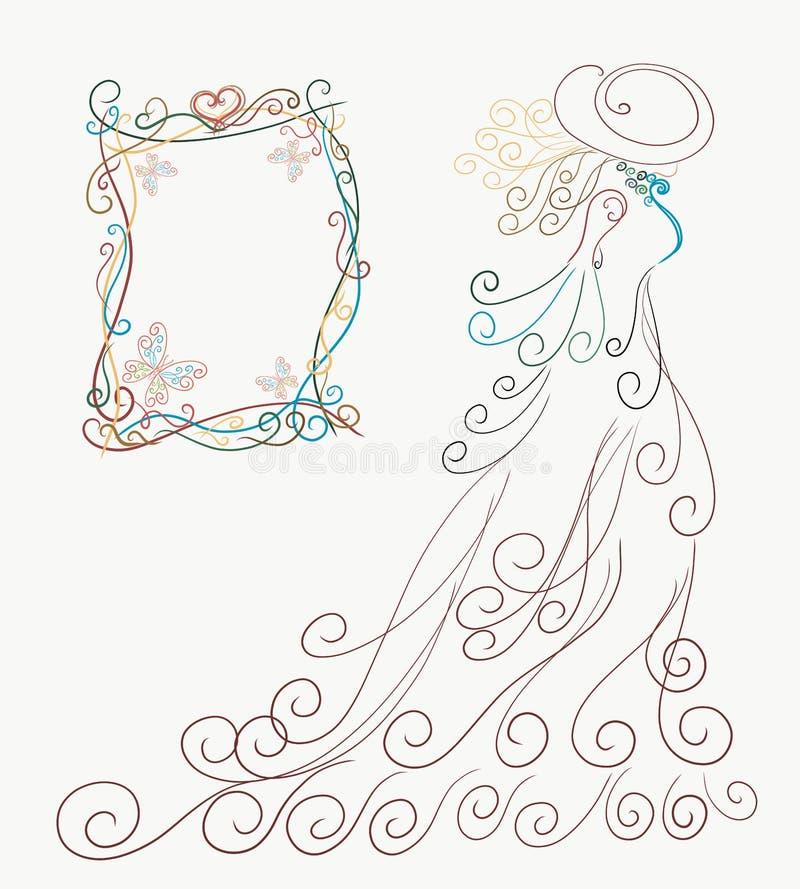 Cartão, silhueta elegante de uma senhora em um vestido magnífico e ha ilustração do vetor