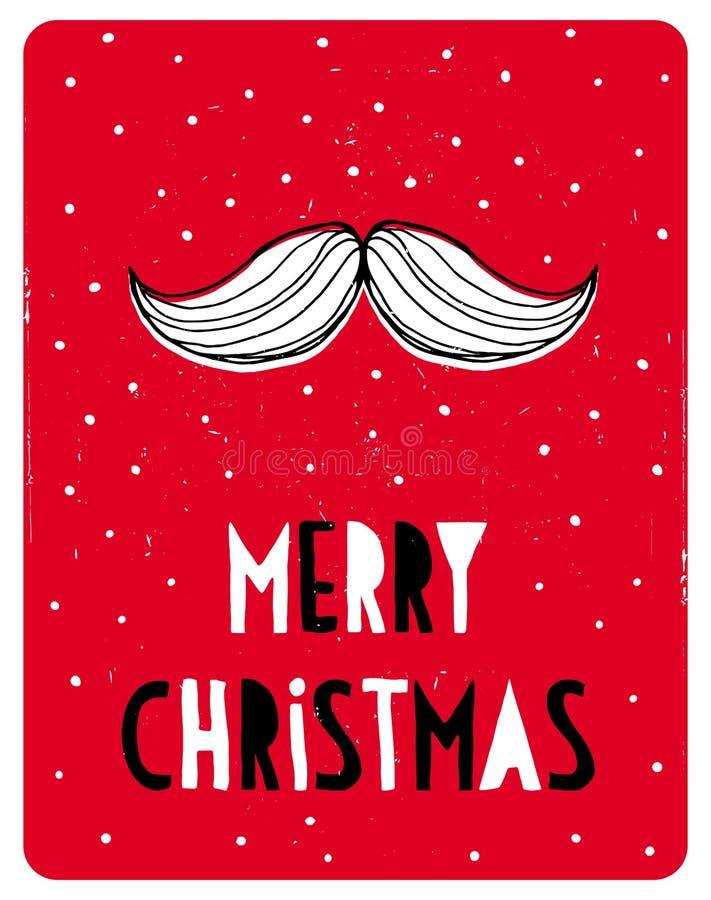 Cartão simples engraçado do vetor do Natal Santa Claus Moustache branca em um fundo nevado vermelho ilustração do vetor