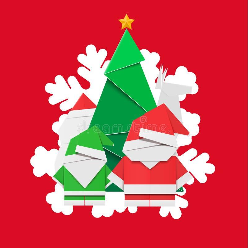 Cartão tipográfico do Natal e do ano novo com elementos do sinal do Xmas no fundo vermelho ilustração stock