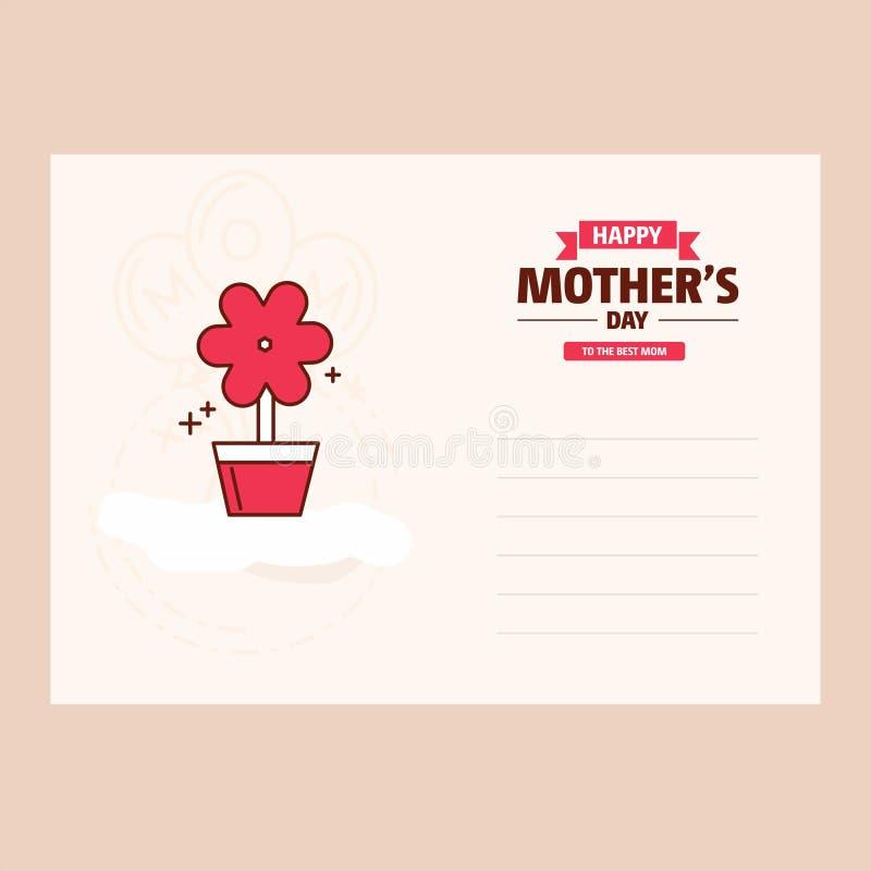 Cartão tipográfico feliz do projeto do dia de mães com Backgroun vermelho ilustração do vetor