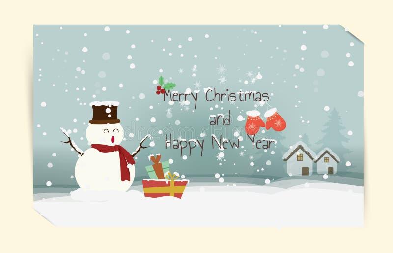 Cartão tirado dos desejos do boneco de neve boas festas mão criativa morna pelo inverno claus, o Feliz Natal da caixa de presente ilustração stock